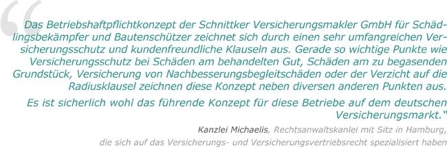 Testimonial Betriebshaftpflicht Schädlingsbekämpfer Kanzlei Michaelis