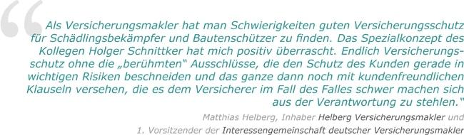 Testimonial Betriebshaftpflicht Schädlingsbekämpfer Matthias Helberg